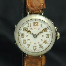 WW1 TRENCH WATCH Mens Pin Nail Set Windup Wire Lug Case 24HR Dial Part FIX As-is