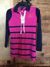 RALPH LAUREN polo RUGBY SHIRT tunic LACE UP Front LARGE LOGOS