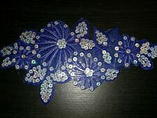 Blue flower sequin embroidery patch lace applique motif dress dance costume