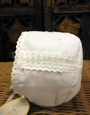 Will'beth Newborn Infant Baby Girl Fancy White Christening Bonnet Pearls 0-3m NW