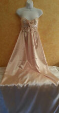 Gatsby Vintage Style Champagne & Ivory Empire Sheath Satin Wedding Bridal Gown