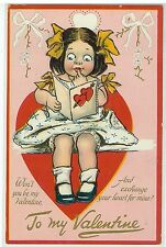 Tuck's Post Card Embossed Valantine's Day Cute Girl circa 1910s