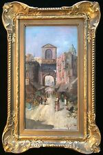 Antique Orientalist Oil Painting Signed Mosque Temple Dome Persian Market Gilded