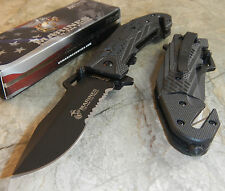 OFFICIAL USMC MARINES SIDEWINDER Spring Assisted Rescue Glass Break POCKET Knife