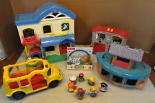 Fisher Price Little People PlaySets 7 people Bus Ark Firestation house