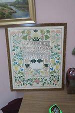 """Antique Hand Made Embroidered Sampler 17"""" x 21"""" - 20"""" x 24"""" Framed Arts & Crafts"""