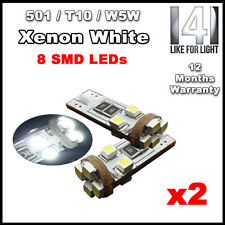 2x Xenon WHITE 8 SMD 501 T10 W5W CANBUS ERROR FREE LED SIDELIGHTS HIGH POWER UK