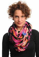 Large Red and Pink and Beige Flowers On Black Snood Scarf (SF000645)
