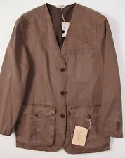NWT $775 CAPALBIO Brown Cotton Stitch-Detail Field Jacket 50/L Italy Outer Coat