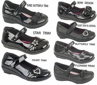GIRLS  VELCRO FORMAL/CASUAL/ SCHOOL SHOES WITH HEART TRIM SIZE UK 9-1