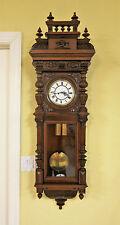 """1878 Resch """"Remember"""" Dbl Weight Vienna Regulator; Ornately Carved, Walnut Case!"""