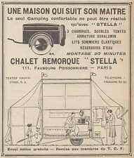 Z9204 Chalet Remorque STELLA -  Pubblicità d'epoca - 1929 Old advertising