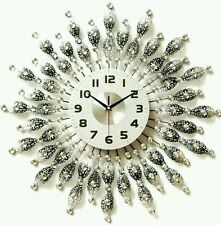 Handmade large stylish wall clock silver an white diamante beaded jewelled.60 cm