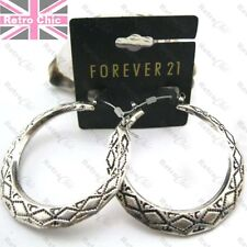"RETRO CREOLE antique silver plated HOOP EARRINGS bamboo chunky 2""BIG HOOPS 5cm"