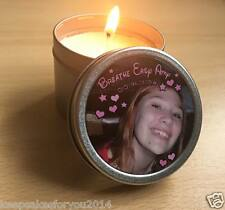 Personalised candle in a metal tin - With your Photo/Text- Funerals, Remembrance