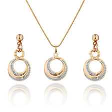 Modern Swarovski Crystal Jewelry SET Moon Design Gold Filled Necklace Earrings