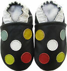 Carozoo five dots black 18-24m new soft sole leather baby shoes