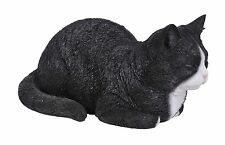 BRAND NEW DREAMING BLACK/WHITE CAT GARDEN ORNAMENT
