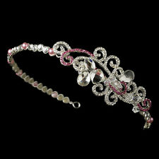 Vintage Austrian Crystal Bridal Wedding Tiara Headpiece (Clear Black Pink Red)