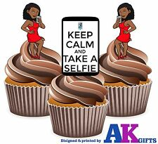 12 x Selfie iphone Female Sexy Red Dress - Fun Edible Cake Toppers Stand Ups