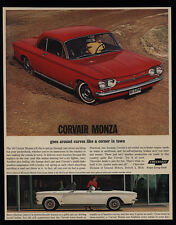 1963 CHEVROLET CORVAIR MONZA Red Hardtop & White Convertible Car VINTAGE AD