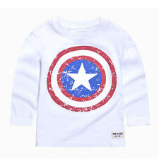 Toddler Kids Boys Spiderman Captain America T-shirts Long Sleeve Casual Tee Tops