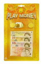 Bambini Bimbi Giocattolo Falso denaro Play Set con monete e banconote PARTY BORSA FILLER
