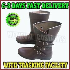 Mens Carnival Pirate Shoe 100%Leather Boots Medieval Fancy Dress Costume Boot Ry