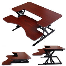 Adjustable Height Stand Up Desk Computer Workstation Lift Rising Laptop Brown