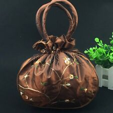 New Women's Coffee Embroidered Flower Silk Satin Purse Jewelry Bag Handbag