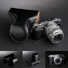 Genunie Real Leather Full Camera Case Bag for Olympus E-PM2 (14-42mm Lens) Black