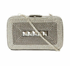 Sushma Patel Flori Women's Small Fashion Jeweled Party Clutch Purse Clear Stones