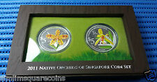 2011 Singapore Native Orchids 2-IN-1 Commemorative Silver Proof Coin Set