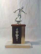 VINTAGE MIXED DOUBLES BOWLING TROPHY - 1970-1971- CARRARA MARBLE, METAL, WOOD