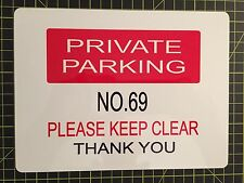PERSONALISED PRIVATE PARKING SIGN ALUMINIUM SIGN ANY COLOUR AND TEXT