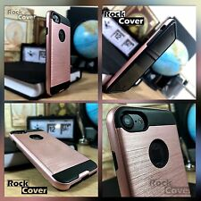 Apple iPhone 6 & 6S Case Metal Effect Tech 2 Premium Hard Layer Rugged Rose Gold