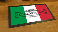 Personalised Italian Flag beer Label bar runner counter mat pubs and club