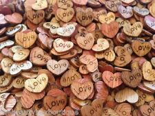50 X Wooden Love Hearts - Craft Scrapbook Card Embellishments Decoration Charms