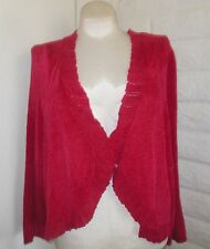 Catherines 4X Red Chenille Sparkly Closure Short Sleeves Cardigan Sweater Shrug