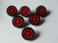 Lego 6 roues a rayons rouges set 377 396 371 697 / 6 old red spoked wheels