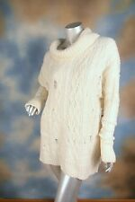 NEW $128 FREE PEOPLE ivory cowl neck oversized distressed sweater boho SZ: M