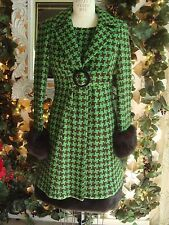 NANETTE LEPORE Green and Brown Houndstooth Coat Size 0 & Dress Size 2