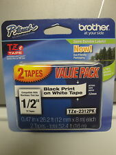 2 BROTHER TZe-231 231 LABEL CASSETTE  BLACK PRINT WHITE TAPE 1/2 ORIGINAL OEM