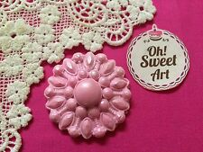 3 Large EDIBLE Cup Cake TOP -PINK sugar brooches,wedding cake decoration topper