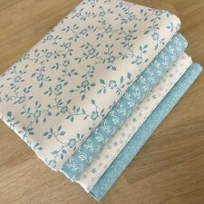 VINTAGE CHARM FAT QUARTER BUNDLE in DUCK EGG BLUE & CREAM Floral Cotton Fabrics