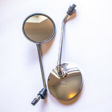 Universal Chrome 10mm Classic Motorcycle Bike Scooter Rear View Mirrors Pair