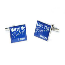 Marry Me Today Love You Forever Personalised Date Blue Cufflinks