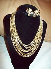 Vintage LISNER Gold Tone Glitter Ball & Chains Multi-Strand NECKLACE + EARRINGS