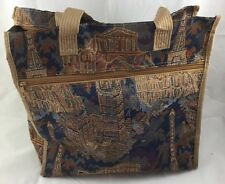 """Villa Tapestry Type Tote Navy Rust Beige 14.5 Inches 13"""" Wide 6"""" Deep 13"""" Strap"""