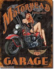 MOTORHEAD GARAGE, ANTIQUE-FINISH VINTAGE-STYLE METAL WALL SIGN 40X30 CM BIKER